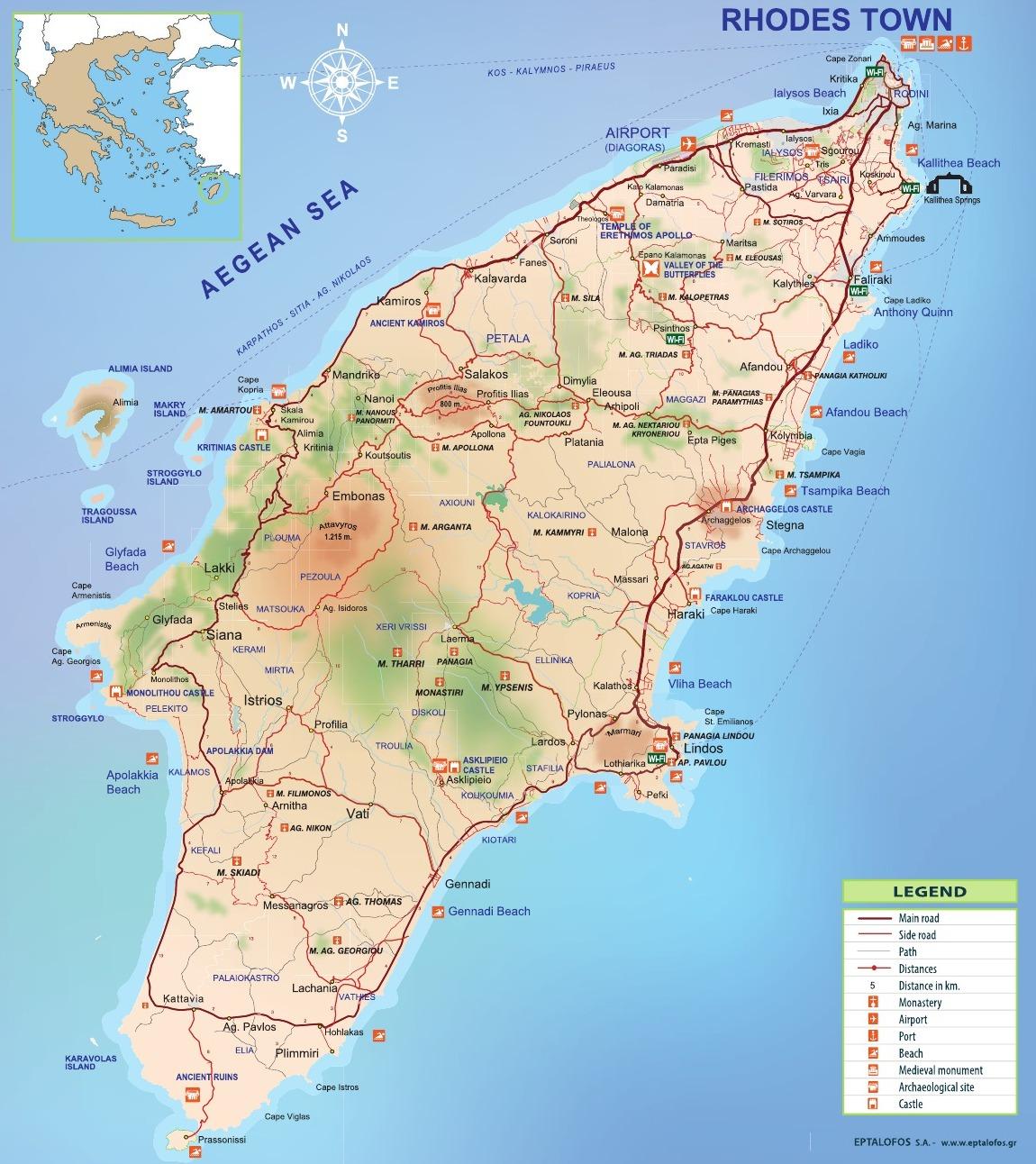 Rhodos mapa
